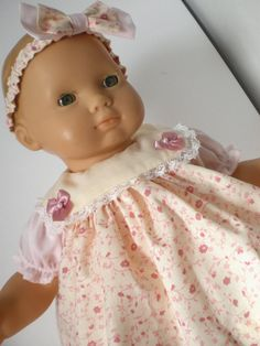 Bitty Baby Doll Clothes Pink Dress Flowered by fashioned4you
