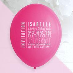Birthday party ballon invitation - custom balloon printing for any event