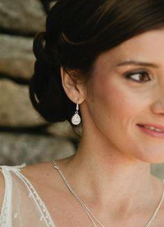 """Boucles d'oreilles mariée """"Victoria"""" avec pendant au charme rétro"""