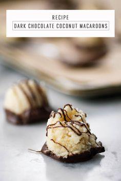 Dark Chocolate Coconut Macaroons recipe by Sugar & Cloth, an award winning DIY and lifestyle blog.