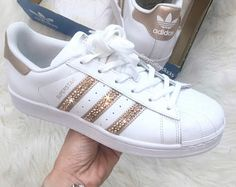 Adidas Superstar originales listos para enviar tamaño 8 hecho con cristales SWAROVSKI® Xirius rosa - blanco/rosa de oro