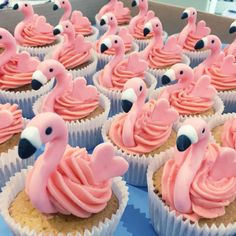 Gorgeous little flamingo cupcakes - so cute! Recipe to make flamingo cupcakes. Flamingo Cupcakes, Fun Cupcakes, Wedding Cupcakes, Cupcake Cookies, Tropical Cupcakes, Summer Cupcakes, Cupcake Birthday Cake, Tropical Party, Cupcakes Lindos