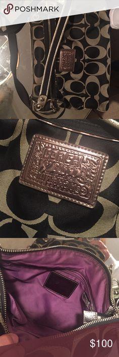 Black coach purse Black and silver coach purse Coach Bags