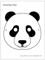 In need of Kung Fu Panda party inspiration?) your planning with these 20 Utterly Bodacious Kung Fu Panda Party Ideas for Kids. Animal Mask Templates, Printable Animal Masks, Animal Masks For Kids, Mask For Kids, Panda Maske, Printable Halloween Masks, Bear Template, Mascaras Halloween, Bear Mask
