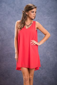 I'll Fly Away Dress, Coral || We love the classic cut look this dress has from the front and super unique and chic look it has from the back! The extra fabric this dress has in the back creates fabulous movement! It lightly flows behind you as you walk or the wind blows! Instant windblown blown look! #modelstatus! Ill Fly Away, Flies Away, Extra Fabric, Coral, Chic, Formal Dresses, My Style, Unique, How To Wear