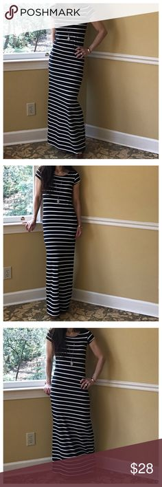🆕 striped maxi dress Long striped cap sleeves maxi dress PLEASE Use the Poshmark new option you can purchase and it will give you the option to pick the size you want ( all sizes are available) BUNDLE and save 10% ( no trades price is firm unless bundled) Dresses Maxi