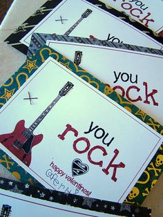 You Rock Valentines for kids, both printables for boy and girl - staple Pop Rocks on the back for the treat!