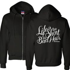 Our new zip-up hoodies are a secret item in our store. Zip Up Hoodies, Sweatshirts, Stylist Quotes, Becoming An Esthetician, Professional Hairstyles, Beauty Shop, Fashion Stylist, Zip Hoodie, Diy Clothes