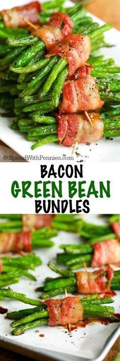 Bacon Green Bean Bundles have tender crisp green beans wrapped in bacon and brushed with a simple brown sugar glaze. These are easy enough for a weeknight meal and pretty enough to impress your guests alongside a steak dinner! #dinner