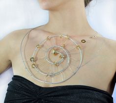 Wire Wrapped Spiral Necklace Silver and Gold by theELEPHANTpink, $23.50
