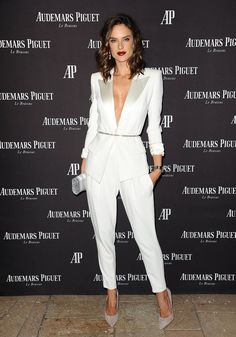 There's Nothing Stocky or Business-Like About Alessandra Ambrosio's White Pantsuit