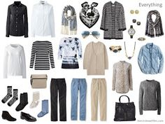 a travel capsule wardrobe in black, white, beige and denim blue. (I know it's travel capsule but i think it's loveley and would work well as a base for an every day wardrobe)