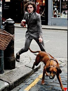 hounddogsrunning:    menandtheirdogs:    guysanddogs: Kit Harington    DROOOOOOL    Hey zloi!