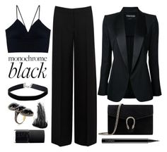 """""""All black everything"""" by chichismash ❤ liked on Polyvore featuring Alexander McQueen, Gucci, NARS Cosmetics, Miss Selfridge, Jennifer Miller, Eyeko, Tom Ford and MAC Cosmetics"""