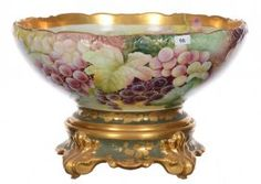 "9"" X 14"" Marked Limoges Two-part Punch Bowl On Stand"