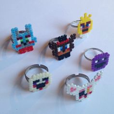 Five Nights at Freddy's 2 inspired Perler Bead Rings by KungFuse on Etsy https://www.etsy.com/listing/224635250/five-nights-at-freddys-2-inspired-perler