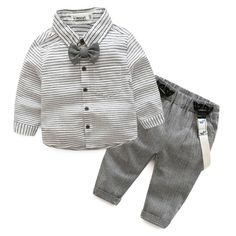 Buy Boys Stripe Turn-Down Collar Button Drawstring Suspender Sets online with cheap prices and discover fashion  at Popreal.com.
