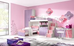 Bedroom:Breathtaking Kids Girl Bedroom Design Displaying The Alluring Pink  Painting Walls And Purple Solid