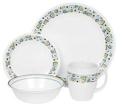 Corelle Livingware 16 piece Dinnerware Set, Service for Chocolate Mint Corelle Patterns, Casual Dinnerware Sets, Corelle Dishes, Mint Shop, Dinner Sets, Mint Chocolate, Kitchen Styling, Tea Pots, Plates