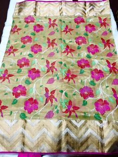 Beige pure zari tissue kota with all over thread weaving design