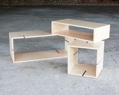 MoModul Modular Plywood Shelving by Xavier Coenen - Homeli Smart Furniture, Modular Furniture, Plywood Furniture, Modern Furniture, Furniture Ideas, Retail Shelving, Modular Shelving, Box Shelves, Display Shelves
