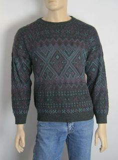 Vintage Men's 1980s Purple & Green Grandad Jumper - Large available to buy online at Virtual Vintage Clothing £15