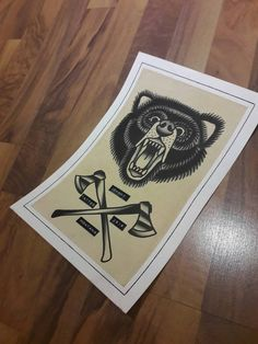 Bear traditional tattoo flash by MisfitFlash on Etsy