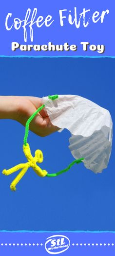 Coffee Filter Parachute Guy Here's a simple craft to get your kids playing outside–parachute guys, made from fuzzy sticks and a coffee filter. So easy to make for kids of all ages! Camping Crafts For Kids, Summer Crafts For Kids, Indoor Activities For Kids, Fun Crafts For Kids, Preschool Crafts, Preschool Classroom, Preschool Ideas, Summer Activities, Outdoor Activities