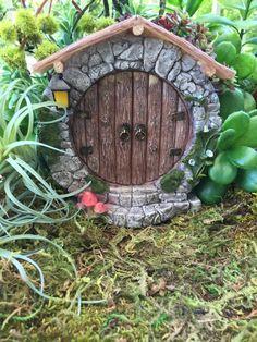 Charming Round Fairy Door With Lantern, Miniature Gardening, Fairy Garden Accessory, Home and Garden Decor, Garden Supply
