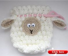 Purse designs these days are all about reflecting your unique personality. This Fluffy Sheep Drawstring Crochet Bag Pattern gives your handmade bag a lamb's warm, woolly character. The free crochet pattern includes a curious face and floppy ears. Crochet Sheep, Free Crochet Bag, Crochet Shell Stitch, Easter Crochet, Crochet Pillow, Crochet For Kids, Crochet Crafts, Crochet Toys, Crochet Baby