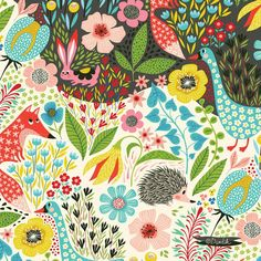 playing with spring colours... #pattern #repeat #spring #fox #forest