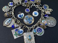 "Vintage Charm Bracelet Collection - ""Feeling Blue"" - Blue Silver & Enamel Charm Bracelet"