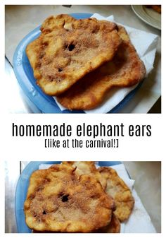Bring carnival food to your home with this elephant ears recipe. This is perfect food to make when you want a special snack and the fair and carnival are no where in site. Elephant Ear Pastry, Elephant Ears Recipe, Elephant Eating, Carnival Eats Recipes, Carnival Food, Delicious Desserts, Dessert Recipes, Yummy Food, No Bake Treats