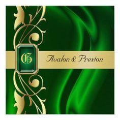 Marquis Green Silk Gold Scroll Emerald Invitation Weddings Unique