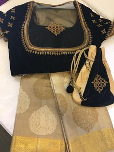 Sari and gown Saree Blouse Patterns, Fancy Blouse Designs, Bridal Blouse Designs, Blouse Neck Designs, Blouse Styles, Dress Patterns, Stylish Blouse Design, Work Blouse, Designer Wear