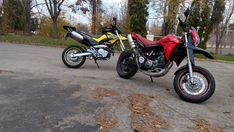 What else? #twowheels #bikes #honda #fmx650 #yamaha #xt660x #red #yellow #motocouple #riding #motorcycles #Slovakia