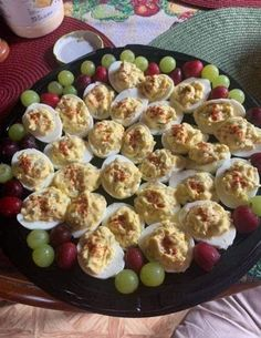 Ingredients: 14 hard-cooked eggs 1/2 cup mayonnaise 1/2 cup sour cream 1 1/2 teaspoons Dijon mustard 1 teaspoon fresh lemon juice 1/4 teaspoon black pepper 1/3 cup crumbled cooked bacon 1/4 cup (1 ounce) finely shredded sharp Cheddar cheese 2 tablespoons chopped fresh chives or scallion (green onion) tops Directions: Slice eggs in half lengthwise.... Egg Recipes, Snack Recipes, Cooking Recipes, Appetizer Recipes, Appetizer Dips, Chicken Recipes, Dinner Recipes, Egg Ingredients