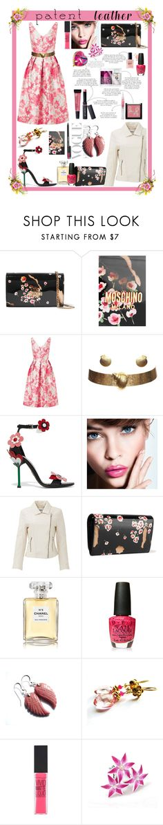 """City Slickers: Patent Leather"" by belladonnasjoy ❤ liked on Polyvore featuring Moschino, Miss Selfridge, Yves Saint Laurent, Prada, L'Oréal Paris, BB Dakota, Chanel, OPI, Maybelline and Butter London"