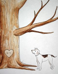 Pet cat dog, Wedding Tree Guest Book add-on . Original thumb print Water Color Illustration- Add your Pet, cat, dog Wedding Tree Guest Book, Guest Book Tree, Tree Wedding, Wedding Paper, Paint Your Pet, Fingerprint Tree, Dog Wedding, Wedding Ideas, Wedding Planning