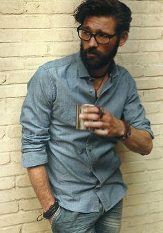 chambray shirt, beard, glasses