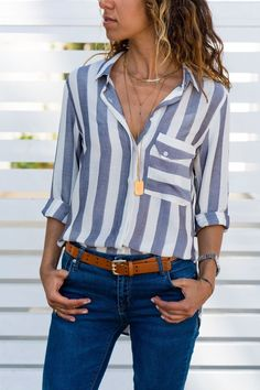 [£ Striped Lapel Long Sleeves Button Up Casual Shirt Blouses - VeryVoga Casual Shirts, Casual Outfits, Cute Outfits, Fashion Outfits, Bluse Outfit, Shirt Outfit, Stripes Fashion, Navy Women, White Women
