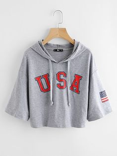 To find out about the Drop Shoulder Heather Knit Crop Hoodie at SHEIN, part of our latest Sweatshirts ready to shop online today! Teen Fashion Outfits, Edgy Outfits, Cute Lazy Outfits, Summer Outfits, Trendy Hoodies, Shirts For Teens, Teenager Outfits, Summer Shirts, Cropped Hoodie