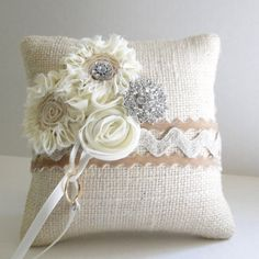 Burlap wedding ring pillow