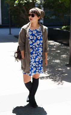 Add a touch of feminine elegance to a menswear inspired look. Pair our chic blue floral dress with a beanie and a lightweight military inspired jacket | Banana Republic