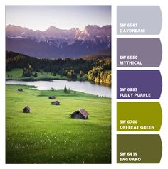 greens and purples pastoral living room colors Paint colors from Chip It! by Sherwin-Williams #chipit #sherwinwilliams