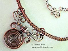 Copper Collar & Scroll Pendant Necklace