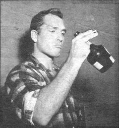 Rare photo of Jack Kerouac, late 1950s with his friend the bottle