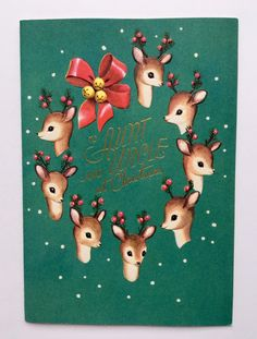 VINTAGE Rust Craft Christmas Card Deer Fawn Holly Berry Snow Gold Bell Red Bow - $5.00. Vintage Rust Craft Christmas Card. Signed inside. Signs of age but is in great vintage Condition overall. Policy and info: Take a look at the photos and ask any questions you may have! Securely shipped from our home to yours! I discount bundle ship, so check out my other amazing items available now!!! 1st card = $2.60 / 2nd-9th card = $0.25 each / BUY 10 GET FREE SHIPPING!!! Payment due...