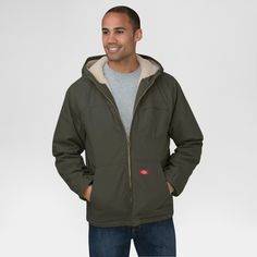 Dickies Men's Duck Sherpa Lined Hooded Jacket Big & Tall Black Olive (Green) 4XL