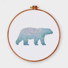 Geometric Polar Bear cross stitch pattern Modern by ThuHaDesign